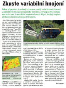 Variabilní hnojení rozmetadlem Bogballe, plodinová čidla OptRx, AGleader