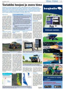 Variabilní aplikace hnojiv rozmetadlem, spektrální snímky, plodinová čidla, plná automatika